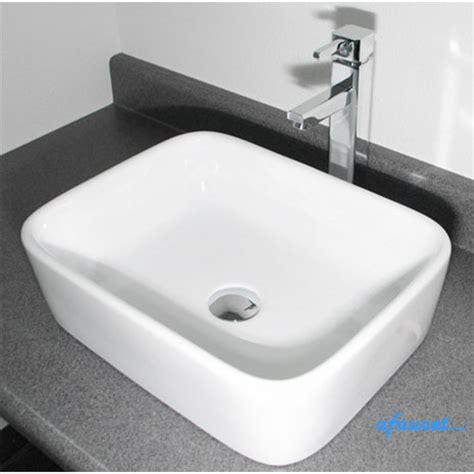 rectangular vessel sink rectangular white porcelain ceramic countertop bathroom