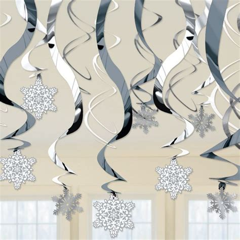 snowflake swirl hanging decorations 30ct