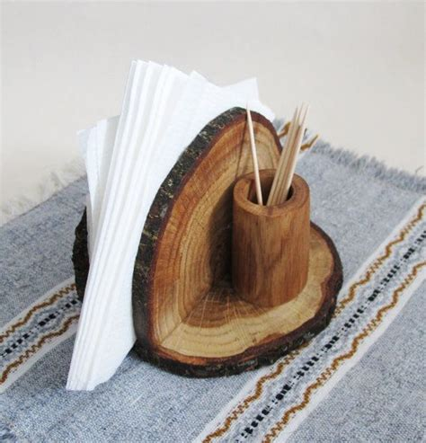 rustic oak wood napkin holder wooden napkin stand