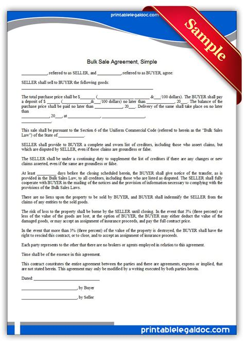 Free Printable Bulk Sale Agreement Simple Form Generic Wholesale Purchase Agreement Template