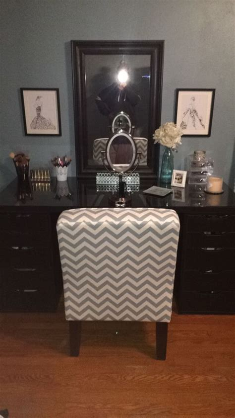 makeup vanity made from 2 alex brown black drawers a
