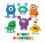 Cute Little Monsters Ready For Halloween Party Free Vector