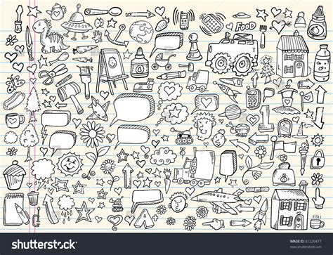 doodle element mega doodle sketch drawing vector element stock vector