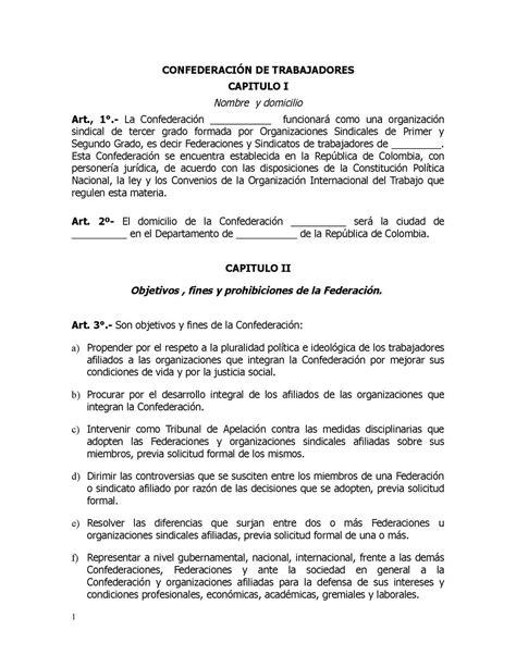 estructura sindical argentina calam 233 o modelo estatutos confederaci 211 n de trabajadores