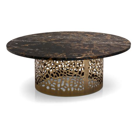Italian Laser Cut Bronzed Metal Round Marble Coffee Table Juliettes Interiors
