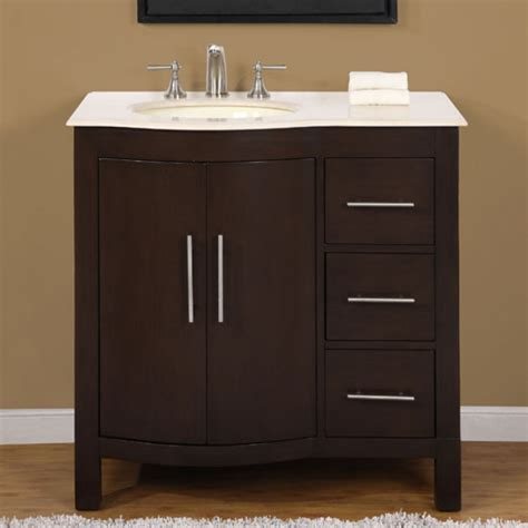 36 Modern Bathroom Vanity 36 Inch Modern Single Bathroom Vanity With Marfil Marble And 2 Doors 3 Drawers Uvsr0912l36