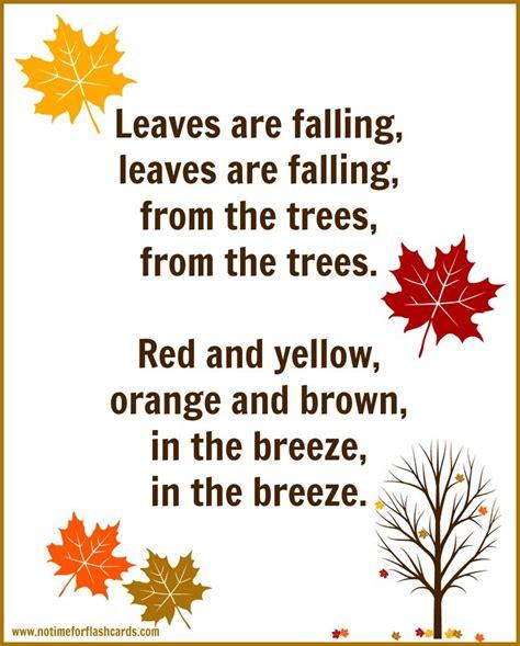 printable fall leaves for preschoolers fall song for preschool with free printable lyrics free