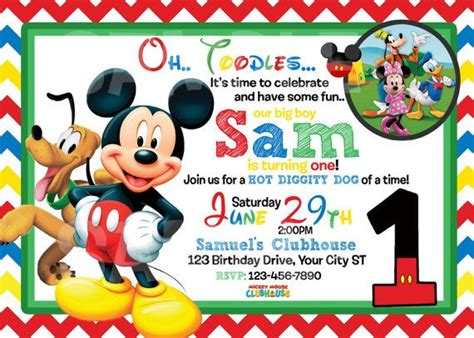 mickey mouse birthday invitation card template mickey mouse 1st birthday invitations drevio invitations
