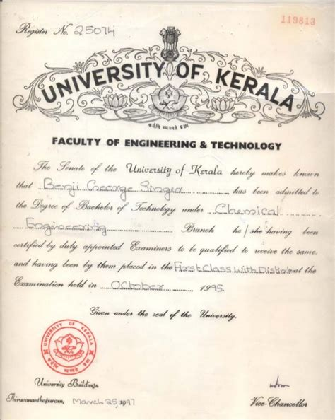 Chemical Engineering Degree With Mba by Kerala Degree Certificate Sle Images