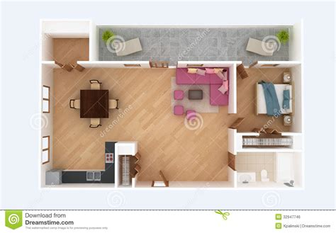 3d floor plan section apartment house interior overhead