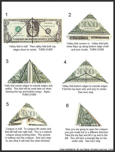 Dollar Bill Origami - papercraftsquare june 2013