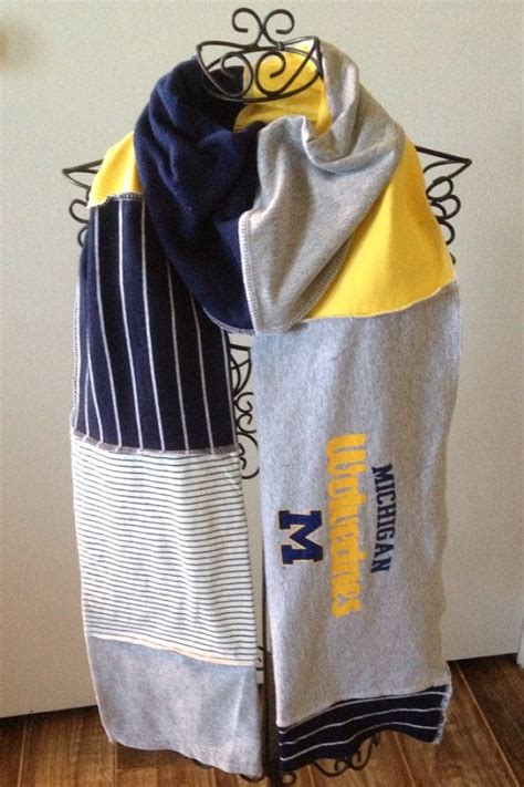 patten university t shirt michigan wolverines scarf upcycled t shirt u of m blue