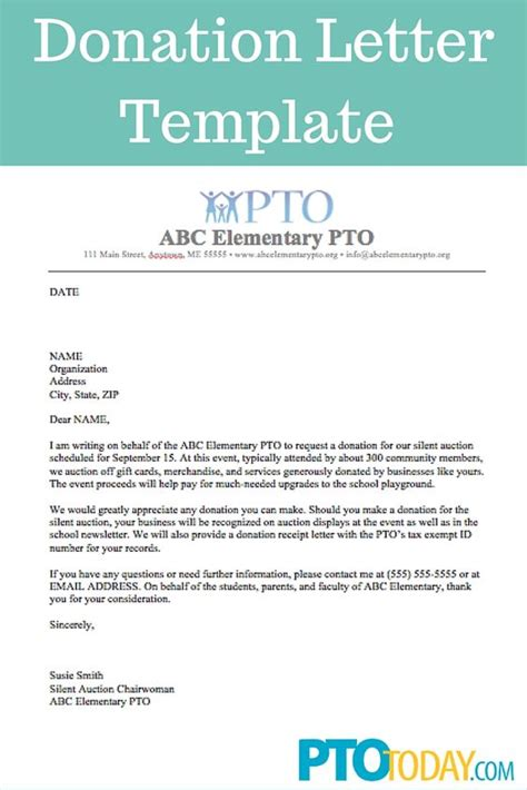 Donation Letter For Youth Use This Template To Send Out Requests For Donations To Support Your Pto Pta