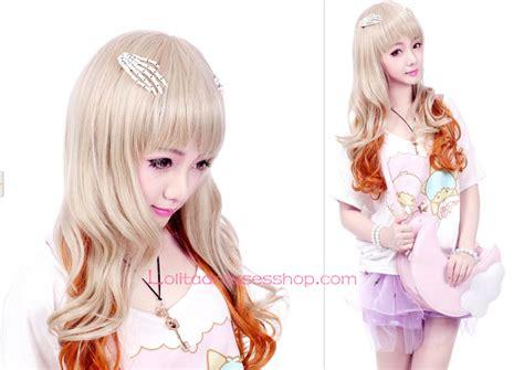 Kimono Dua Lapis Best Seller cheap wheaten and orange mixed color wig sale at dresses shop
