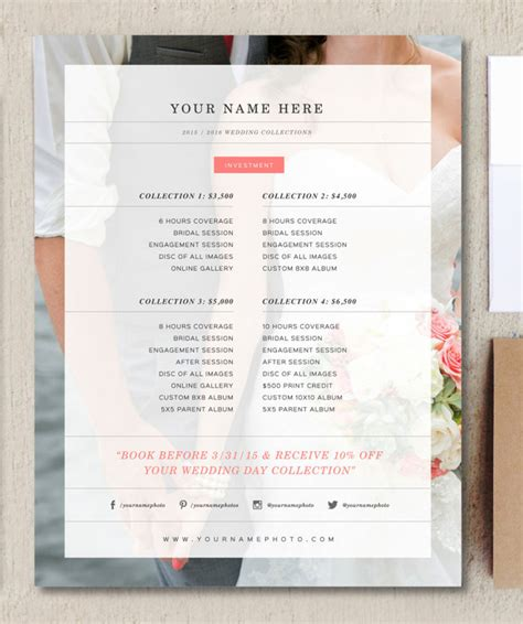 Wedding Photographer Price List Flyer Templates On Creative Market Price List Flyer Template