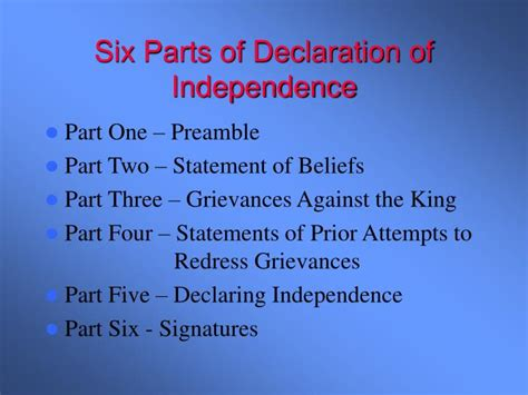 four sections of the declaration of independence what are the four sections of the declaration of