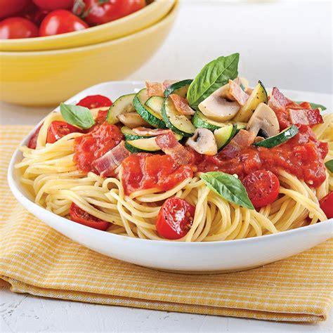 cuisine tomate spaghettis sauce minute aux tomates cerises et basilic
