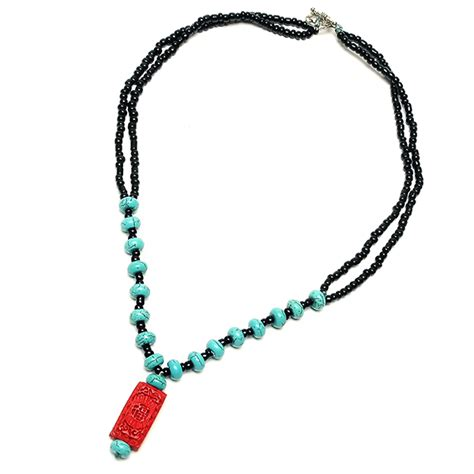 turquoise and cinnabar necklace where the winds