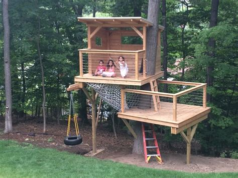 modern tree house cedar stage treehouse modern deck boston by living