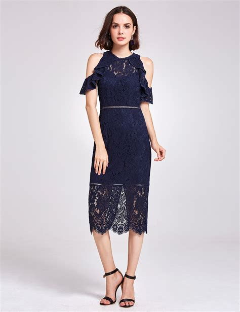 Dress Aliza Navy alisa pan lace cocktail dress cold shoulder navy blue midi