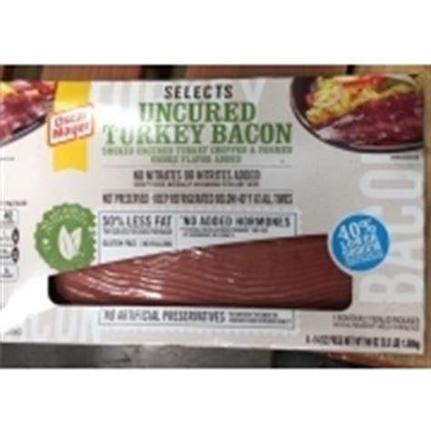 Turkey Bacon Shelf by Oscar Mayer Selects Uncured Turkey Bacon Calories