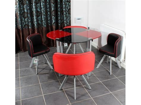 Space Saving Glass Dining Table Charles Dining Table With 4 6 Chairs Set Tempered Glass Space Saver Ebay