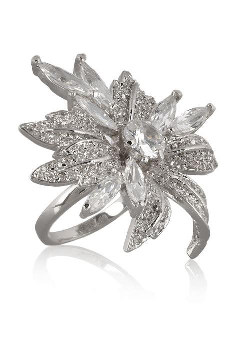 kenneth rhodiumplated cubic zirconia flower ring in silver lyst