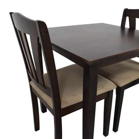 Wood Dining Tables And Chairs 46 Wood Dining Table And Beige Upholstered Chairs Tables