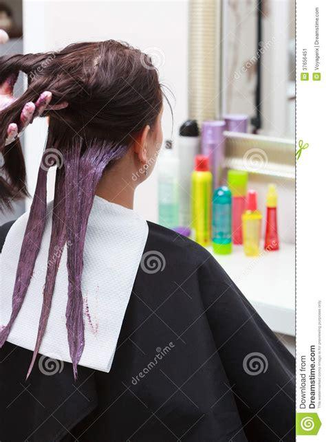 hairdresser applying color female customer  salon  hair dye stock image image  dying