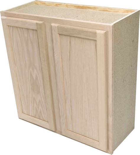 Unfinished Wall Cabinet by Quality One Woodwork W3030 30x30 Unfinished Oak Wall