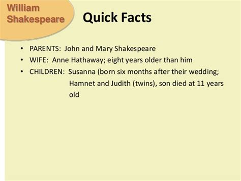 shakespeare biography quick facts shakespeare