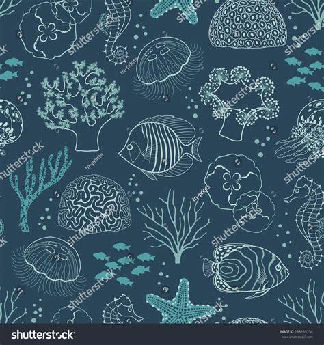 underwater pattern background underwater seamless pattern on dark blue background stock