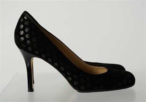 silver patterned heels kate spade black suede leather silver polka dot pattern