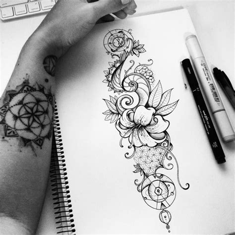 geometric nature tattoo design on behance ilustra 231 227 o 6