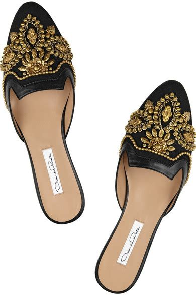 house shoes in spanish oscar de la renta spanish mule embellished linen and leather slippers net a porter com