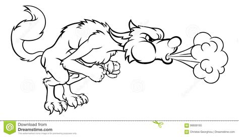 pigs big bad wolf blowing stock vector image 99939165