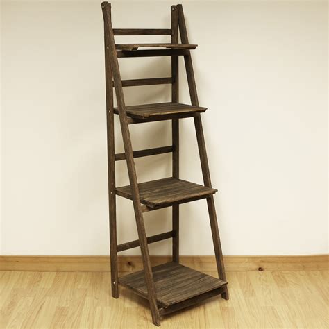 bookcases standing shelves 4 tier brown ladder shelf display unit free standing