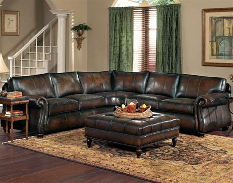Bernhardt Gogh Leather Sectional by Gogh Semi Aniline Leather Sectional By Bernhardt
