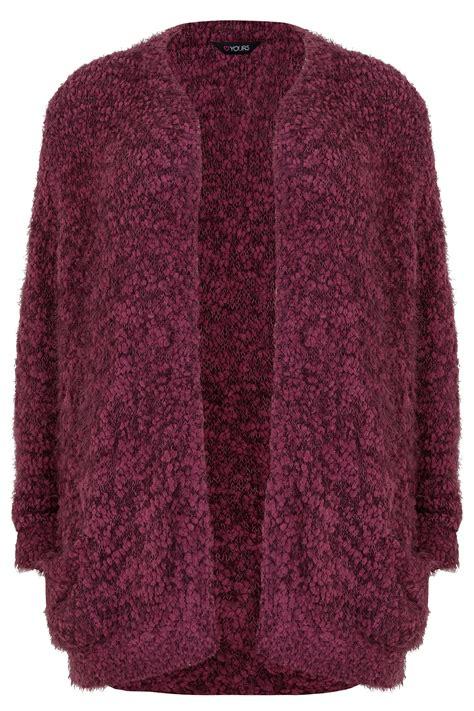 Grey Knitted Lace Panel Eyelash Longline burgundy longline eyelash cardigan plus size 16 to 36