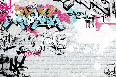 brick wallpaper with graffiti funky graffiti wallpaper design dream home pinterest