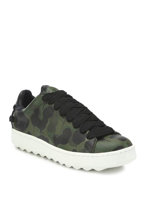 mens coach sneakers coach camouflage leather sneakers in green for lyst