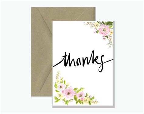 Thanks Greeting Cards thanks floral watercolour greeting card rosie lou