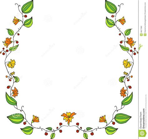 doodle line drawing floral frame with line drawing doodle flowers stock image