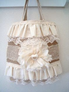 Tote Bag Whoopees 5045 Flower Tote Bag bags burlap lace and bags on