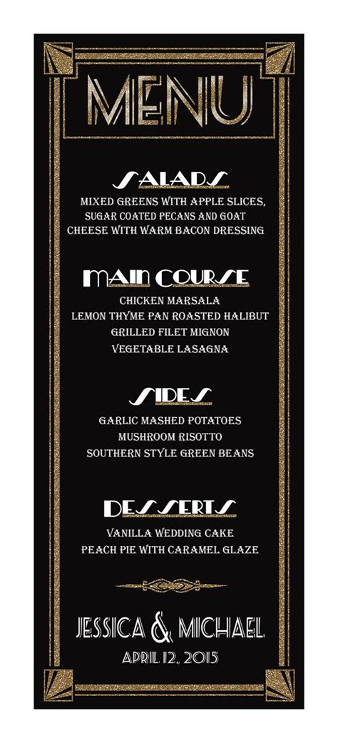great gatsby dinner menu custom diy printable wedding menu with a deco roaring