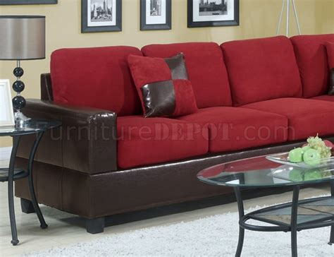 red reclining sofa microfiber f7638 modern sectional sofa in red microfiber by poundex