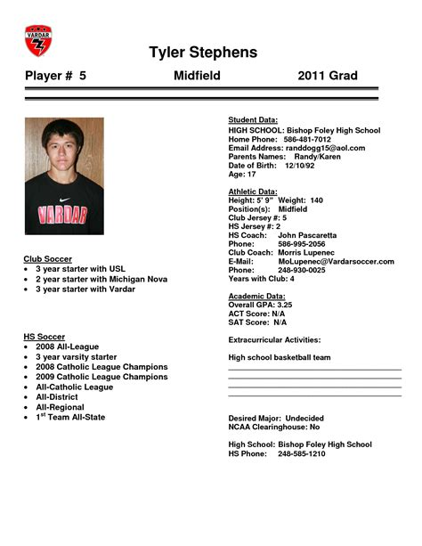 student athlete profile template fotos 90 athletic resume