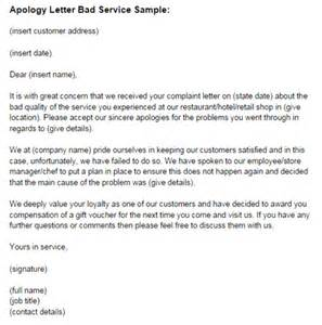 how to write an apology letter for bad customer service