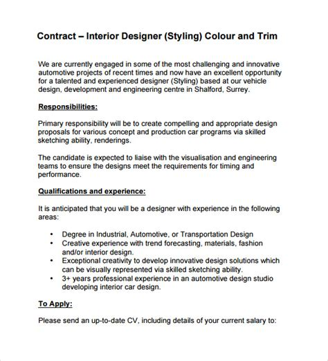 Sle Of Letter Of Agreement For Interior Design Interior Design Contract Template 7 Free