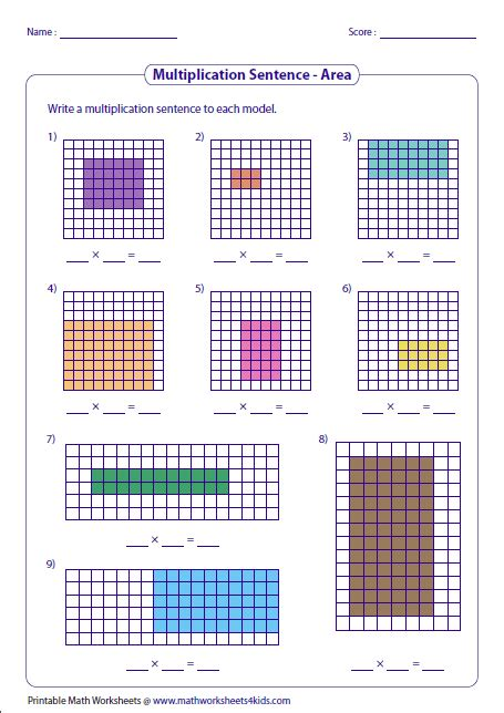 Math Models Worksheets by 2nd Grade Math Arrays Worksheets Multiplication Models